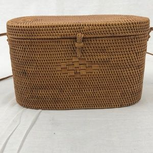 Oval Rattan Bag Hand Woven Wicker Cylinder